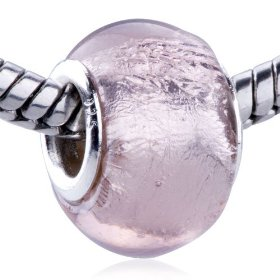 Light pink pattern european glass bead - murano pandora & bracelet fit