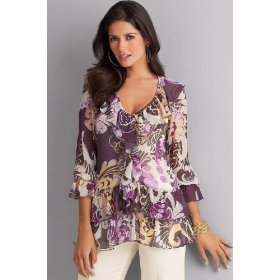 Metrostyle scroll print blouse
