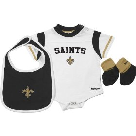 Reebok new orleans saints newborn creeper, bib & bootie set