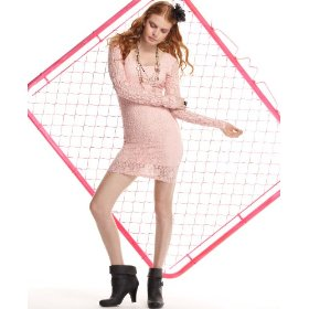 Material girl dress, scoop neck long sleeve lace mini