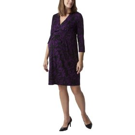 Liz lange® for target® maternity v-neck pleated empire dress -purple/ebony