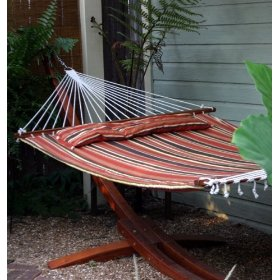 Parrot bay antiqua premium quilted hammock - rustic stripe / stand is sold separately