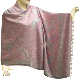 Handmade jamawar colorful leaf printed two sided semi silk stole for women  stle0091r