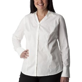 Women's plus-size merona® white v-neck long-sleeve fashion shirt
