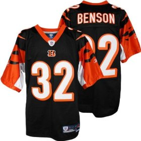 Men's cedric benson #32 cincinnati bengals nfl premier football jersey by reebok (black-white)