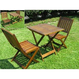 New 3pc folding wooden bistro patio table furniture set table & 2 pc chair