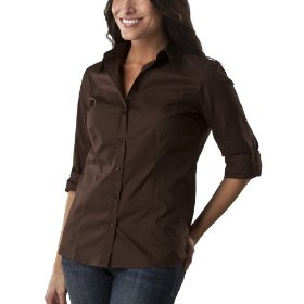 Cherokee® women's relaxed fit camp shirt - brown