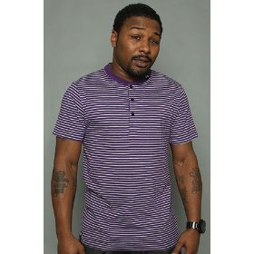 Lrg core collection the cc striped henley in purple,tops for men