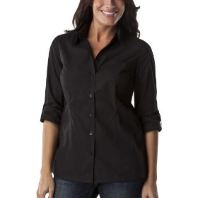 Cherokee® women's relaxed fit camp shirt - black