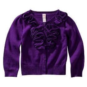 Infant toddler girls' cherokee® purple long-sleeve rouched sweater