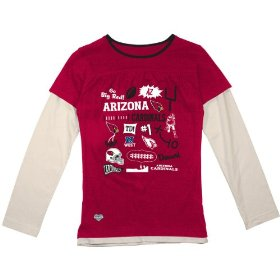 Reebok arizona cardinals girls (7-16) long sleeve faux layer t-shirt