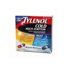 Tylenol cold multi-symptom day & night combination pack caplets, cool burst 20 ea