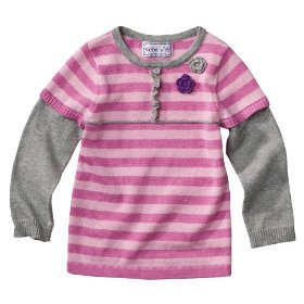 Infant toddler girls' pink babydoll sweater with flower