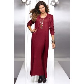Metrostyle long sweater dress & duster set