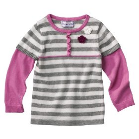 Infant toddler girls' grey babydoll sweater with flower