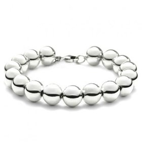 Bling jewelry designer inspired 10mm sterling silver bead bracelet 7.5