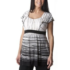 Liz lange® for target® maternity short-sleeve scoop-neck fashion shirt - ebony/white