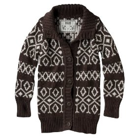 Girls' mossimo supply co. brown long-sleeve chunky cardigan sweater