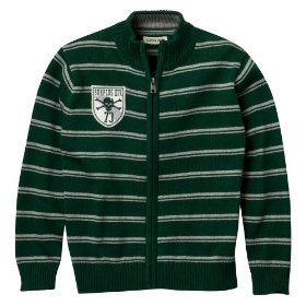 Boys' cherokee® green stripe long-sleeve full zip sweater