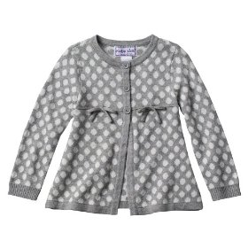 Infant toddler girls' grey polka dot sweater with flower