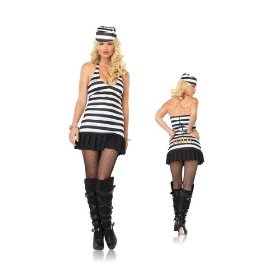 Jail girl sexy adult womens skirt set costume naughty skimpy female inmate prisoner outfit leg avenu
