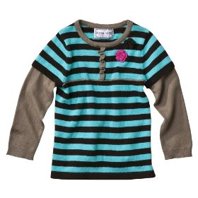 Infant toddler girls' turquoise/brown babydoll sweater with flower