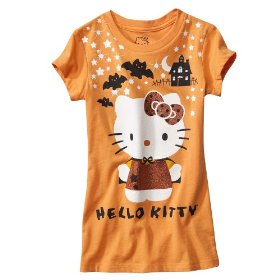 Girls' hello kitty orange halloween short-sleeve tee