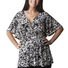 Liz lange® for target® maternity short-sleeve v-neck fashion shirt - ebony/white