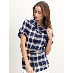 Banana republic plaid cowlneck shirt