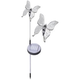 Solar garden stake accents garden or pathway with a whimsical butterfly motif