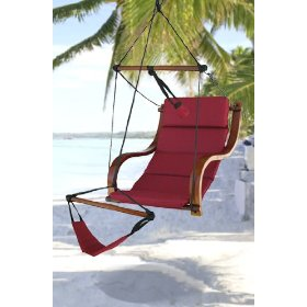 New deluxe ultra padded comfort air hammock chair hanging lunge chair burgundy