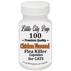 Little City Dogs JUMBO PACK - 100 CHICKEN FLAVORED Flea Killer Capsules for Cats & Small Dogs - 12 M