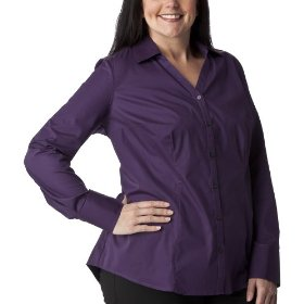 Women's plus-size merona® wood violet v-neck long-sleeve fashion shirt