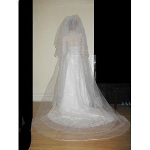 3 Tier Royal Cathedral Swarovski Crystal Rhinestones Wedding Bridal Veil Satin Edge