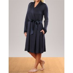 A pea in the pod collection: long sleeve scoop neck ruffled nursing nightgown and robe