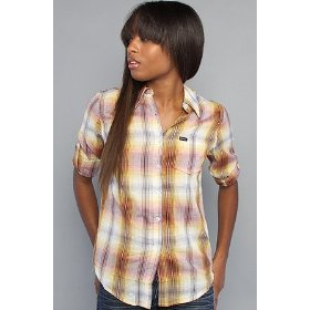 Rvca the creed buttondown shirt in vintage white,tops (l/s) for women