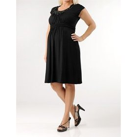 A pea in the pod collection: sleeveless necklace trim maternity dress