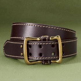 Leather loop center-bar belt