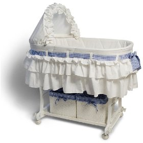 Burlington baby bassinet combo with wicker baskets