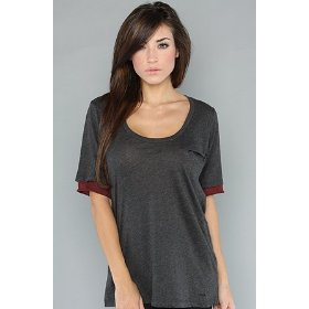 Rvca the loudmoth firestarter tee in charcoal heather,t-shirts for women