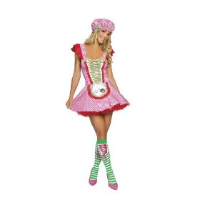 Strawberry shortcake girl womens sexy halloween costume