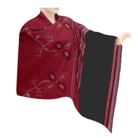 Handmade self design embroidery look wool shawl with black border, pleasant gift for her  shwl0117r