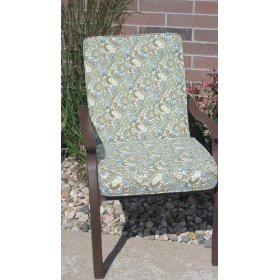 Premium replacement high back patio dining chair cushion- paisley