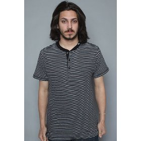 Lrg core collection the cc striped henley in black,tops for men