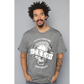 Crooks and castles the caesar skull tee in black speckle,t-shirts for men