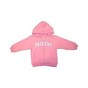 Reebok green bay packers girls (4-6x) full zip pink hooded sweatshirt