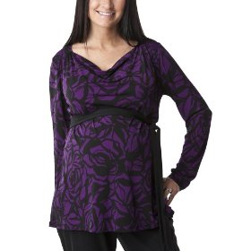 Liz lange® for target® maternity long-sleeve cowl-neck tunic - purple/ebony