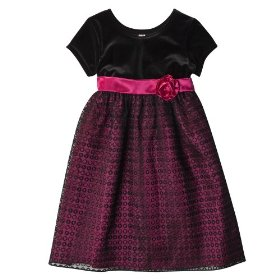 Girls' cherokee® pink short-sleeve holiday dress