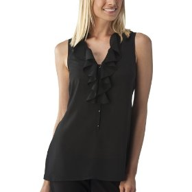 Mossimo® women's ruffle front tank top - black