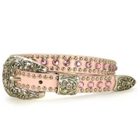 Thin rhinestone and punched-in studded genuine leather belt with western buckle